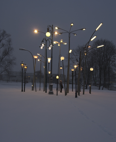 Sonja Vordermaier Streetlampforest 2010 a collection of 30 european streetlamps from different origins and times